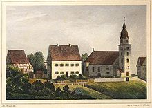 Birthplace of Christoph Martin Wieland in Oberholzheim, (1840) (Source: Wikimedia)