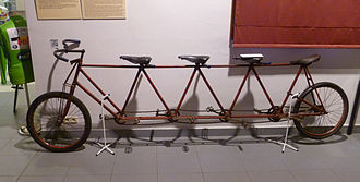 Track bicycle - Track bicycle (1893) for four, with the first one acting as pacesetter