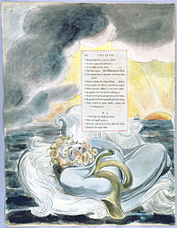 A bearded man floats on the sea, with a storm cloud and a sunrise in the background