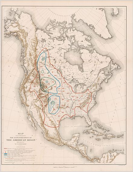 Map from 1889 by William T. Hornaday, illustrating the Extermination of the American Bison William T. Hornaday Extermination of the American Bison 1889 Cornell CUL PJM 1102 01.jpg