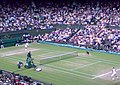 Wimbledon Men's final 2008, Federer serves for 3rd set.jpg