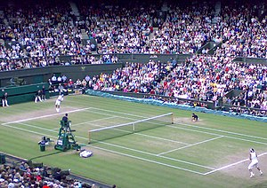 2008 Wimbledon Championships – Men's singles final - Federer serving for the third set against Nadal in the Wimbledon final