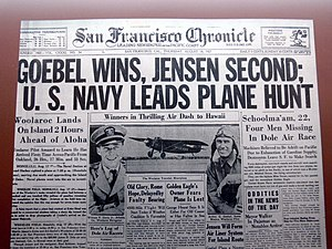 Dole Air Race - Frontpage of the San Francisco Chronicle, 18 August 1927