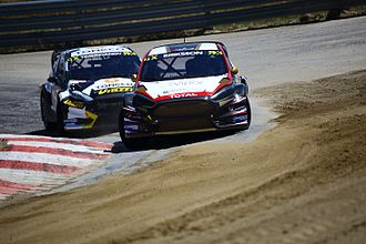 2017 FIA World Rallycross Championship - Manfred Stohl split with World RX Team Austria (foreground) and entered his own team, STARD (background)