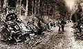 Wreckage of German convoy near Villers-Cotteret, 1915.jpg