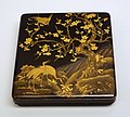 Writing box with cranes, Japan, Edo period, 1603-1868 AD, wood, black lacquer, gold and silver maki-e - Linden-Museum - Stuttgart, Germany - DSC03569.jpg