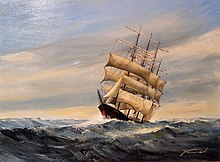Painting of a ship with triple sails traversing through somewhat rough seas on a fair day. This ship sunk as a result of the hurricane.