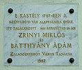 Zalaszentgrót, Batthyány-kastély - Zrínyi Miklós és Batthyány Ádám találkozásának emléktáblája - 2010. 09. 28..jpg