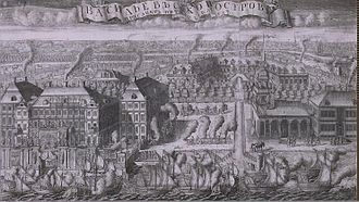 Battle of Gangut - Captured Swedish ships were brought to St Petersburg, as this 1715 etching testifies