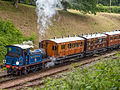 """Bluebell"" departing Horstead Keynes with train of 4-wheelers (9129537333).jpg"