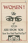Poll tax repeal poster from Texas, c. 1918