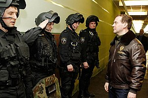 Police of Russia - Dmitry Medvedev inspecting Bryansk OMON in 2011