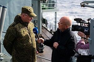 Igor Konashenkov - Konashenkov being interviewed during the deployment of the Russian Navy in the Mediterranean Sea, January 2016.
