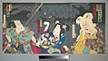 東海寄談音児館-Onoe Kikugorō V as Otowake Neko no ke (Right), Bandō Mitsugorō IV as Aishō Michinoku (Center), Onoe Kikugorō V as Isogai Mibunosuke (Left) in the Kabuki play Tōkai Kidan Nekomata Yashiki MET DP143322.jpg