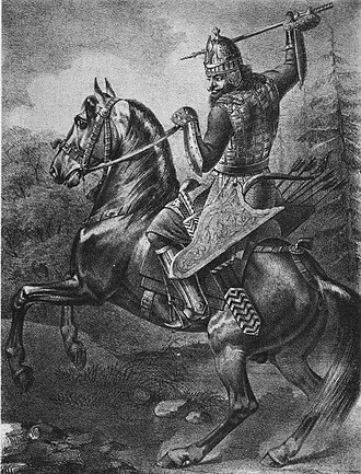Djerid (weapon) - Russian military rider with one djerid in the hand and two more in quiver on the belt