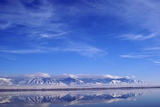Interstate 80 - Mountains of the Great Salt Lake as seen approaching Salt Lake City from the west