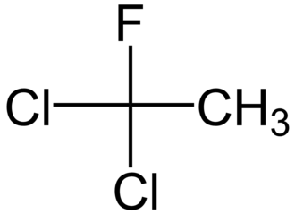 1,1-Dichloro-1-fluoroethane - Image: 1,1 dichloro 1 fluoroéthane 2D