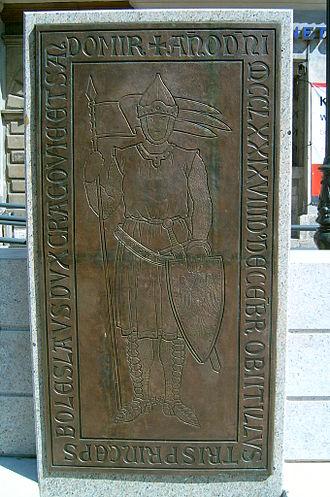 Bolesław V the Chaste - A copy of Bolesław V's tombstone at the Little Market Square in Kraków .