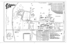 A map with black text and drawings on a white background illustrates the original layout of the ranch