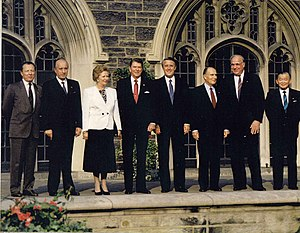 14th G7 summit - Summit leaders at the University of Toronto: (left to right) Jacques Delors, Ciriaco De Mita, Margaret Thatcher, Ronald Reagan, Brian Mulroney, François Mitterrand, Helmut Kohl and Noboru Takeshita.