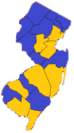 1850 New Jersey gubernatorial election results actual.png