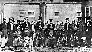 Japanese Embassy to the United States (1860) - The Embassy at the Washington D.C. shipyard: Vice-Ambassador Muragaki Norimasa (third from left), Ambassador Shinmi Masaoki (middle), and Oguri Tadamasa (second from right)