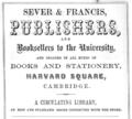 1863 Sever advert Cambridge Massachusetts.png