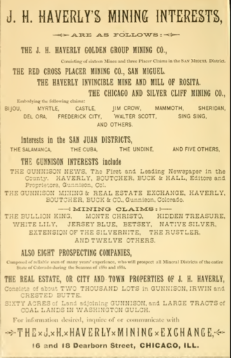 J. H. Haverly - Advertisement for Haverly's Mining Exchange, Chicago, 1880