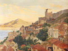 Painting depicting a north-facing view across the red-tiled roofs of Gibraltar, with the Moorish Castle prominent in the background