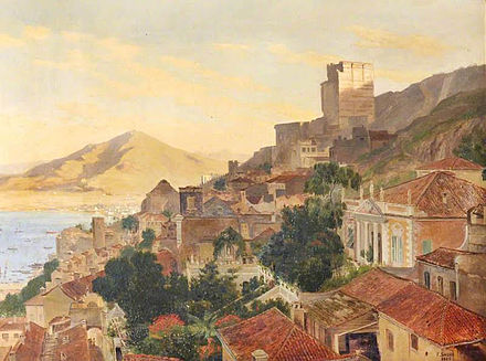 View across Gibraltar looking north, by Frederick William J. Shore (1883) 1883 - Frederick William J. Shore Arengos palace.jpg