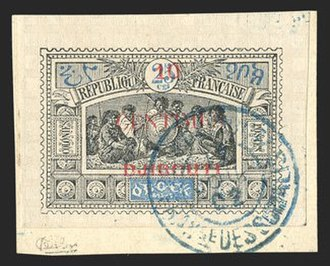 Postage stamps and postal history of Djibouti - A 1902 stamp of Obock overprinted 10c on 25c for use in Djibouti (imperforate on piece).