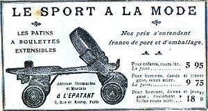 Publicité de 1908 vendant des patins à roulett...