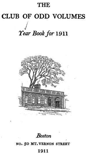 The Club of Odd Volumes - Image: 1911 Club of Odd Volumes Mt Vernon St Boston