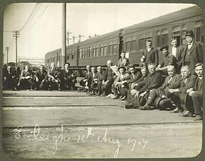 State Archives and Records Authority of New South Wales - Locomotive drivers from the Eveleigh workshop during the 1917 strike. This was a great period of change for New South Wales.