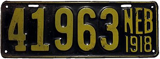 Vehicle registration plates of Nebraska - Image: 1918 Nebraska license plate 41963