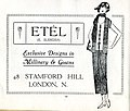 1920s advert Etel E. Slender 48 Stamford Hill N16 exclusive millinery and gowns.jpg