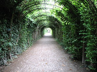 Pergola - Pergolas are more permanent than a green tunnel, pictured here trained on modern materials: Mirabellgarten, Salzburg