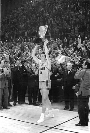Pallacanestro Varese - Varese captain Ottorino Flaborea lifts the FIBA European Champions Cup trophy after defeating CSKA Moscow at the final in Sarajevo's Skenderija on 4 April 1970 — the first of the club's five European titles during the 1970s.