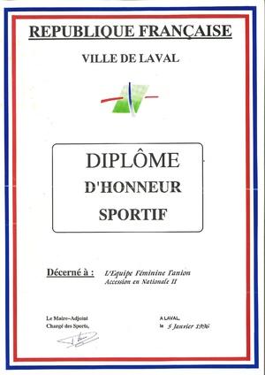 Diplôme d'honneur sportif Accession N2F