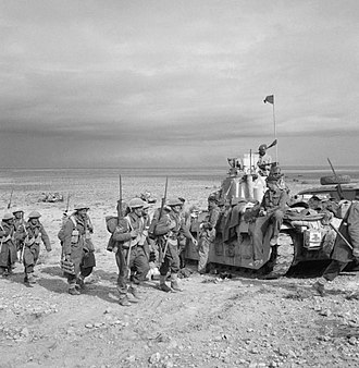 Tanks of New Zealand - Matilda Tank along with infantry of New Zealand 19th Battalion linking up with the Tobruk garrison, 27 November 1941