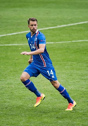 Kári Árnason - Kári playing for Iceland against Hungary in UEFA Euro 2016