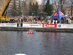 "Tampere University of Technology - ""Student baptism"" for first year students in the rapids during Vappu"