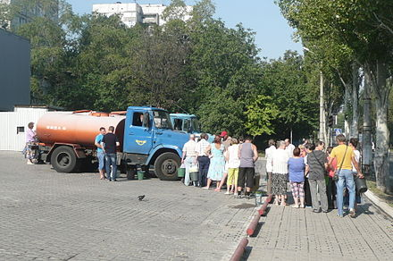 People queueing for water in Donetsk, 22 August 2014 2014. Donetsk 464.jpg