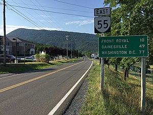Virginia State Route 55 - View east along SR 55 leaving Strasburg