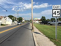 2016-08-25 16 46 00 View east along West Virginia State Route 45 (Moler Avenue) between Oliver Avenue and Ellis Street in Martinsburg, Berkeley County, West Virginia.jpg