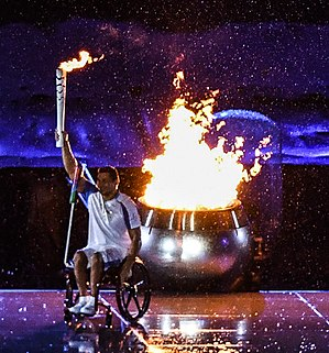 Clodoaldo Silva - Silva after lighting the Paralympic cauldron at the 2016 Summer Paralympics opening ceremony