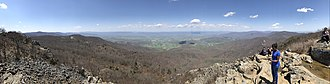Stony Man Mountain - Image: 2018 04 28 12 46 43 Panoramic view south, west and north from the cliffs just northwest of the summit of Stony Man Mountain in Page County, within Shenandoah National Park, Virginia