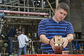 3-D Printed Rocket Injector Prepped for Hot Fire Test.jpg