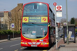 London Buses route 328 - First London Wright Eclipse Gemini bodied Volvo B7TL in Childs Hill in April 2007
