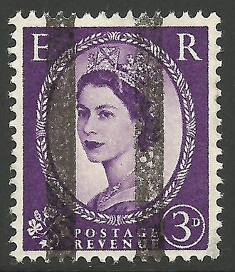 Wilding series - A 3d Wilding Overprinted with black bars for use as a training stamp, 1954 or later.